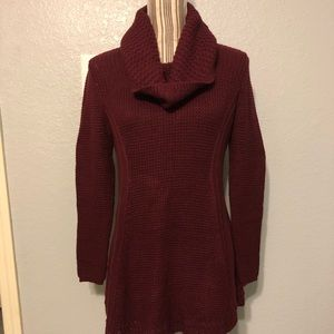 Tunic Scarlet Wine Cowl Neck Sweater